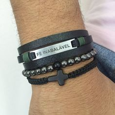 Kit 3 Pulseiras Masculinas Couro Pedras Shambala Crucifixo  mens bracelets style cocar brasil
