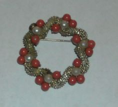 Round Vintage Brooch w/ Coral & White Color Beads. Starting at $6 on Tophatter.com!