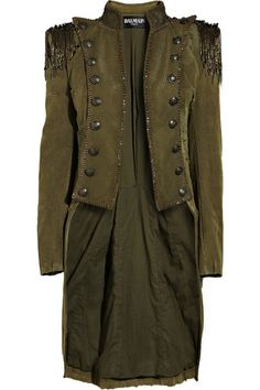 BALMAIN Embellished cotton-canvas Napoleon coat