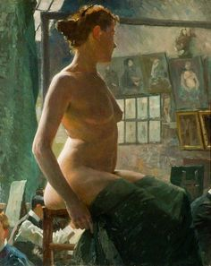 A Female Nude Seated at Julian's Atelier, Rue du Dragon (1902). Alfred James Munnings (British, 1878–1959). Oil on canvas. The Sir Alfred Munnings Art Museum.
