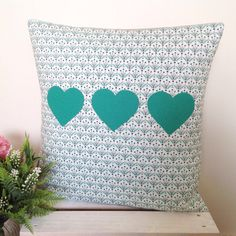 Cushion cover - Posies | Green Teal Hearts