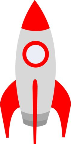Free clip art of a cute red retro space rocket