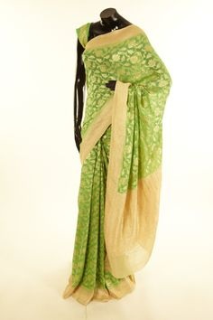 Khari Georgette- georgette spring sea green saree with blouse