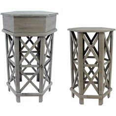 Antique Grey Nested Tables, Assortment