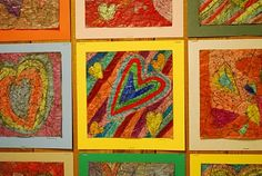 """I need to try out this technique.  Might be good for winter camp coming up since it could be a one day project .My friend used this technique in a lesson by having them make colored """"crackle"""" paper this way and then cut it and other fun papers for the project they were making."""
