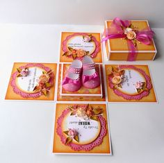 kartkulec, Exploding box for baby girl with pink shoes