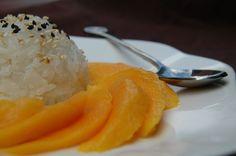 Riz gluant (cuit au micro-onde...) au lait de coco, mini-mangues