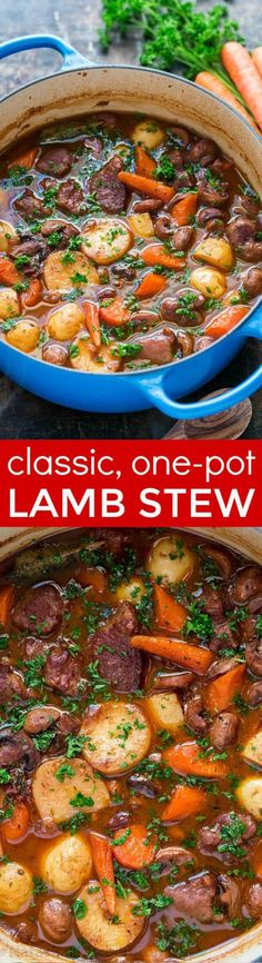 Classic lamb stew is loaded with hearty, healthy ingredients. This lamb stew recipe is simple (a one-pot meal!) and perfect for special occasions (think Easter!). Baking the stew in the oven makes the tender lamb morsels and root vegetables just melt in your mouth. Learn how to make traditional lamb stew.   natashaskitchen.com Lamb Recipes, Roast Recipes, Soup Recipes, Dinner Recipes, Lamb Casserole Recipes, Chicken Recipes, Kitchen Recipes, Cooking Recipes, Healthy Recipes