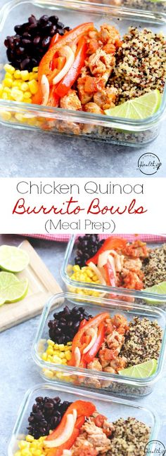 These chicken quinoa burrito bowls are great to meal prep ahead for a quick and delicious grab-and-go lunch or dinner. | APinchOfHealthy.com