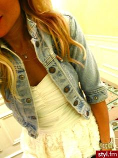 really pretty hair and dress the jean jacket goes great with it too