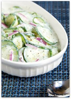 A recipe for creamy cucumber salad made with a sour cream dressing.
