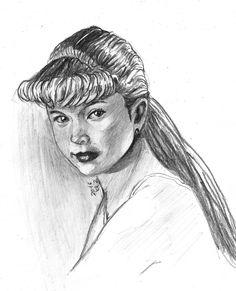 este retrato le realice a lucerito destacando la belleza que tenia en esa edad