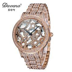 159.60$  Buy now - http://ali3ou.worldwells.pw/go.php?t=32690362873 - Big sale Best original luxury bling crystal rhinestone watch women dress gold silver steel Fashion quartz watches Davena 60983
