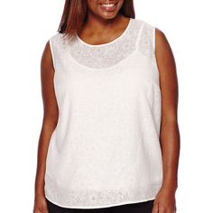 e894360ff4fff Liz Claiborne Sleeveless Lace Blouse ( 22) ❤ liked on Polyvore featuring plus  size women s