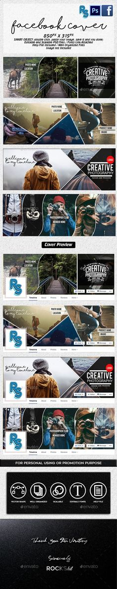 Facebook Photography Cover Templates PSD. Download here: graphicriver.net/...