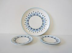 winter holiday plates, blue, christmas trees, swiss chalet alpine plate & saucers