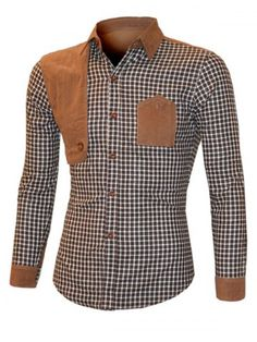 GET $50 NOW   Join RoseGal: Get YOUR $50 NOW!http://www.rosegal.com/mens-shirt/suede-splicing-plaid-long-sleeve-959564.html?seid=7813996rg959564
