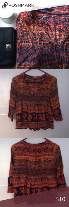 Anthropologie Bohemian Top Shirt XS • excellent used condition • bohemian style baby doll top with a  v neck • brand: anthropologie • size: extra small • no trades • Anthropologie Tops Blouses