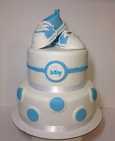 Baby boy shower cake with fondant sneaker toppers Baby Shower Cakes For Boys, Baby Boy Shower, Fondant Cakes, Sneaker, Desserts, Food, Meal, Deserts, Essen