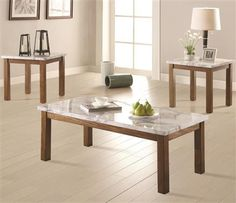 Faux marble top with wood bottom 3 piece coffee table set. Beautiful pieces to add style to your home. 3 Piece Coffee Table Set, Brown Wood, Marble Top, Home Furniture, Dining Bench, Small Spaces, Table Settings, Contemporary, Living Room