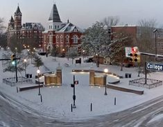 """A snowy Toomer's Corner in Auburn on Wednesday morning"" Auburn Game, Auburn Football, Auburn Tigers, Clemson, College Football, Bird Barn, Barn Owls, Saturday Down South, Pet Tiger"