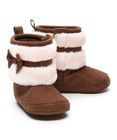 Look at this Chocolate Faux Fur Bow Bootie on #zulily today!