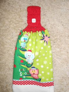 This cute towel has owls on a Christmas Tree!  Double and Reversible, $6.95, by CrochetandOrnaments at Etsy.com