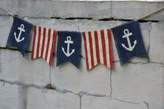 Anchor Patriotic Burlap Banner of July by funkyshique on Etsy Nautical Flags, Nautical Party, Navy Party, Painting Burlap, Girls Camp, Presidents Day, Fourth Of July, Independence Day, Memorial Day