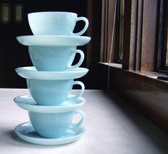 Set of 4 Cups and Saucers Fire King Turquoise by MidwestFinds, $65.00