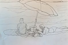 I did this pencil sketch at the beach today. The people in front of me were enjoying a beach blanket day and I decided to draw the umbrella, waves and the people.