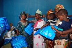 Distribution session of impregnated bed nets to pregnant women and under 5 children at the health centre.