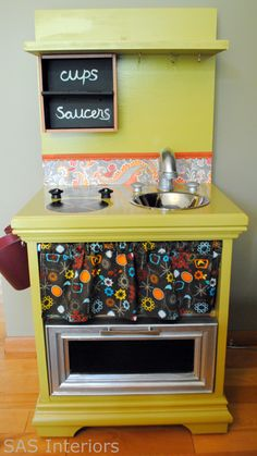 Such cute ideas for kid play kitchens made from reclaimed furniture!