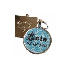 Blue Damask Dog Tag - Super cute and personalized for your pooch! $15 at www.dogids.com
