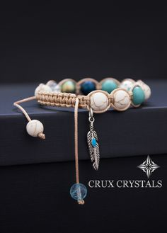 Shamballa Charm Bracelet Peacock Feather, Natural Stone Bracelet Crux Crystals w/ Swarovski Elements - Swarovski Pearls, Turquoise, Quartz by CruxCrystals on Etsy