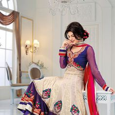 Cream and Blue Faux Georgette Anarkali Churidar Kameez