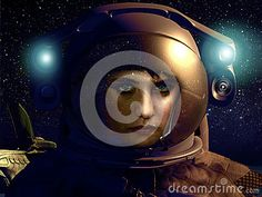 Serious cute young woman into a space suit, close to her spaceship.