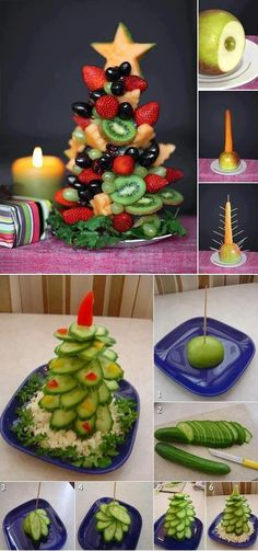 Fruit and veggie Christmas trees. (photo only)