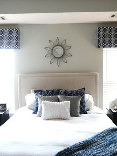 DIY Upholstered Headboard w/ Nail Trim ~ luv the tailored window treatments too !!!