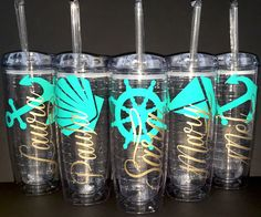 Set of 6 Personalized Beach Tumblers, Bridal Party Tumblers, Bachelorette Tumblers, Wedding Tumblers by SmithAveDesigns on Etsy https://www.etsy.com/listing/247782153/set-of-6-personalized-beach-tumblers