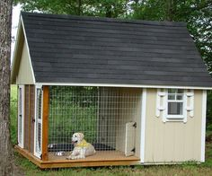 What a great dog house. Can go inside if they want, or out on the porch if they want and still contained without having to be on a chain. Plus no mud when it rains. For Bruiser!