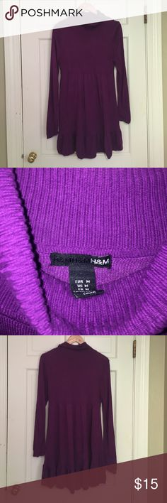 Purple H&M Turtleneck Sweater Dress Great Fall and Winter dress with tights and boots. A little worn, but still in really good shape. H&M Dresses Mini