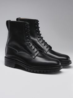 Radnor, a plain front derby boot featuring a heavy duty Commando rubber sole, inspired as a Goodyear welted version of the popular Snowdon. As featured in the 24th James Bond film SPECTRE.