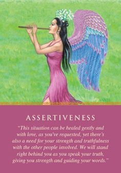 """You drew this card because you were asking about a situation where you felt victimized. The angels are saying that the situation can only be rectified if you clearly communicate your needs and expectations to others. It's possible to be both angelic and assertive if you call upon the angels for courage and guidance whenever you intend to speak your truth. With practice, loving assertiveness becomes easier. Additional meanings for this card: Face the situation directly • Read a book or..."