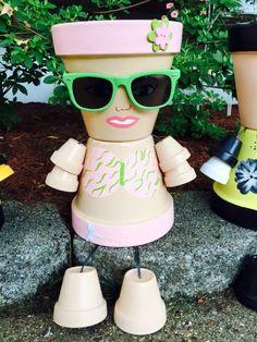 Flower Pot Art, Clay Pot People, Painted Flower Pots, Clay Pot Crafts, Girls Bathing Suits, Clay Dolls, Terracotta Pots, Terra Cotta, Plant Decor
