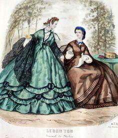 1862 Civil War Era FRENCH FASHIONS ENGRAVING Handcolored Original Bon Ton 1800s…