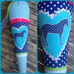 Schultüten - Schultüte aus Stoff Pferde in blau - ein Designerstück von Eichhorn-Barbara bei DaWanda