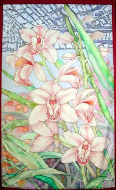 original silk painting  orchids in a greenhouse.  3' by 5'