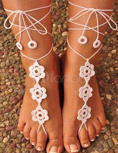 Elegante fiore uncinetto sandali a piedi nudi femminili - Milanoo.com