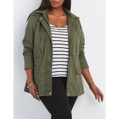 Charlotte Russe Hooded Anorak Coat ($40) ❤ liked on Polyvore featuring plus size women's fashion, plus size clothing, plus size outerwear, plus size coats, olive, womens plus size coats, plus size anorak coats, hooded anorak jacket and olive anorak