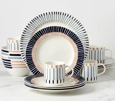 10 Beautiful & Bold Dinnerware Sets for Your Summer Table | LC Living Style Vintage, Rustic Style, Dinnerware Inspiration, Style Rustique, Old Mattress, Green Opal, Table Set Up, White Dishes, Dinnerware Sets